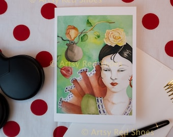 flamenco watercolor, flamenco dancer, flamenco art, flamenco greeting card, flamenco painting, flamenco flowers