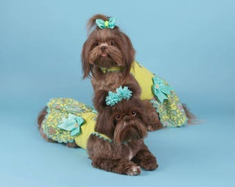 SAMPLE SALE:  Bright Lime Paisley Corduroy Dog Dress