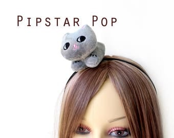 Gray kitten Plushie headband (4 color option) Harajuku decora fashion style for Gothic lolita, cosplay girls teaparty,birthday favor,anime