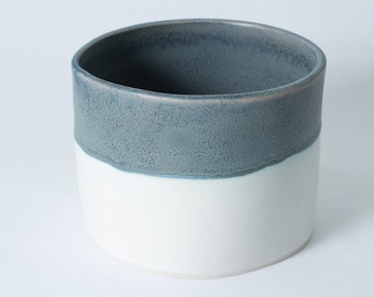 "6"" Straight Sided Matte Blue / White Porcelain Bowl / Display / Pet / Pottery Handmade Ceramic Serving Baking / Oven Safe - ready to ship"