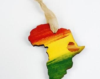 Africa Rasta Ornament, Rastafari, Ethiopia, Haileselassie, Lion of Judah, Bob Marley Ornament, One Love