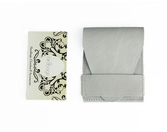 "Grey Leather Business Card Case, Minimalist Card Wallet, Birdbags ""Beak"""