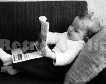 Vintage Toddler Photo Series 1960s, Photo Series of Baby Boy Toddler Klaus Reading Newspaper, Child Portrait Series, 1960s Baby Photography