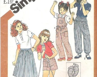 Simplicity 5519 Hang Ten Girls OVeralls, Culottes, Pants, Shorts & Pullover Top Pattern, Size 7, UNCUT