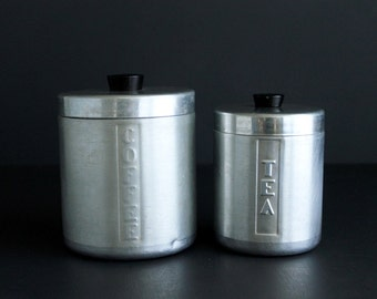 Vintage Coffee and Tea Spun Aluminum Canister Set
