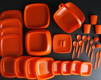 Vintage Orange Picnic Set Made In Hong Kong by Picnic Master Mod Tangerine Self Contained Camping Camper Dishware
