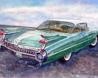 "Cadillac Eldorado, 1959 Cadillac, Custom classic car paintings by Borsos Anna Ruzsan, Print Matted to fit 10""x8"" frame, original available"