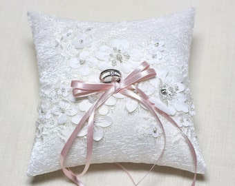 Satin lace ring pillow, wedding ring bearer pillow, wedding ceremony ring pillow, wedding ring cushion