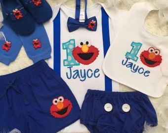 4-pcs Set Elmo Sesame street Inspired Birthday boys outfit- includes personalised elmo top,bottom, bib ,bowtie