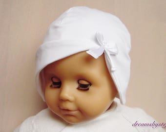 Christening hat , satin bow,various sizes