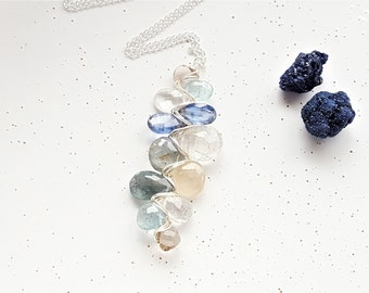Sterling Silver, Smoky Quartz, Moss Aquamarine, Kyanite, Black Rutilated Quartz & Golden Rutilated Quartz Woven Necklace