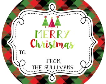 Round Christmas Stickers Labels-  plaid- address- gift