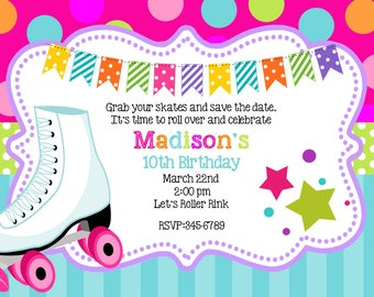 Skating- party-Party Birthday invitations with envelopes   chalk- chalkboard -any colors-roller skating
