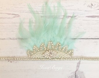 Feather crown-rhinestone and feather crown-birthday crown-boho mint feather crown-mint feather headpiece