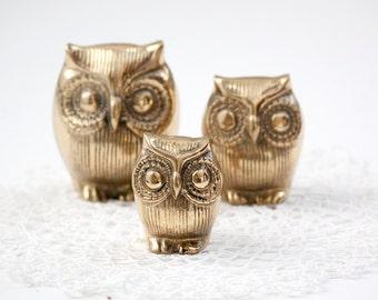 Set of Brass Owls
