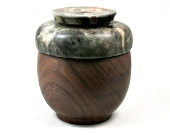 LV-3262  Buckeye Burl   and  Black Walnut  Threaded Vessel, Lidded Box,  Urn-SCREW CAP