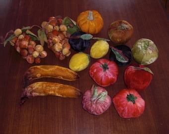 Lot 15 Vintage Velvet Fruit Vegetables