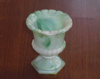 Vintage Green White Akro Agate Slag Glass Urn Toothpick Holder or Tiny Vase