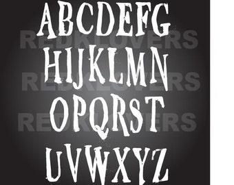 font Halloween Chalkboard handwritten alphabet scrapbook SVG Silhouette DXF  printing, digital download tshirt design files