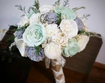 Wedding Bouquet, Sola wood Bouquet, sola bouquet, Burlap Mint, light grey,  Bouquet, bride Bouquet, Mint Bouquet, Sola flowers, Wood Bouquet