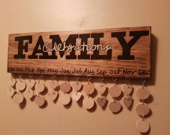 Family Celebration board / wooden Birthday Anniversary Reminder Board / handpainted sign / celebration calendar