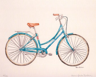 Bicycle Watercolor Print, Blue Bike Painting, Vintage Bicycle Art, Transportation Picture, Kids Room Wall Art, Wheels and Pedals for Child