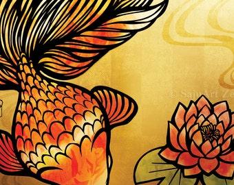 """Postcard """"Goldfish and Water Lily"""" - beautiful fish- koi - gold"""