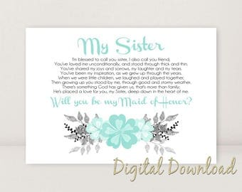 Sister Will You Be My MAID OF HONOR Proposal Blue Wedding Invite Printable Silver Black 7x5 Instant Digital Download Jpg File diy print