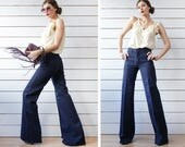 LEE COOPER deadstock vintage extra long navy blue high waist fitted top wide bell bottom flares pants XS
