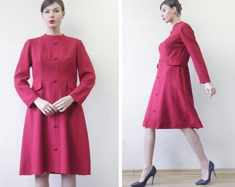Finnish vintage red wool long sleeve simple day lady's midi dress M L