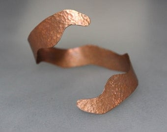 Freeform Hammered Copper Cuff