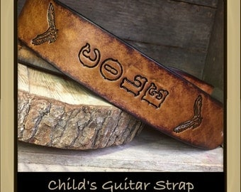 CHILD'S Personalized Leather Guitar strap customized with your child's name, a great gift for any child passionate about music