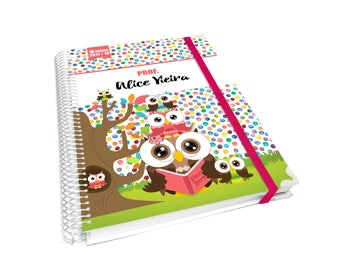 Personalized A5 teacher lesson planner colorful dots with stacked owls -approx 6X8 inches-  B7PROF