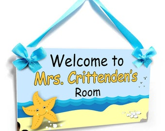 personalized beach themed and starfish teacher classroom decor door sign - P693