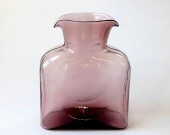 Vintage BLENKO Light Amethyst Glass Water Jug Bottle Pitcher Vase Hand Blown Art Glass Made USA Purple 8x6x3in