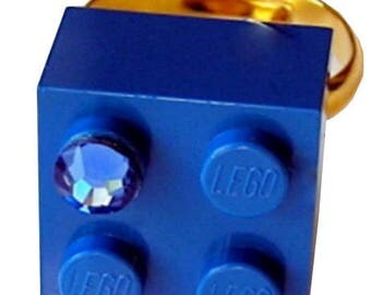 Dark Blue LEGO (R) brick 2x2 with a Blue SWAROVSKI crystal on a Silver/Gold plated adjustable ring finding
