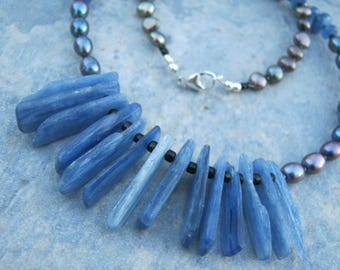 """Blue Kyanite & Pearl Necklace,  20"""" Freshwater Pearl Statement  Necklace,  Beaded Kyanite Jewelry,  925 Sterling Silver, READY To SHIP, EGN2"""