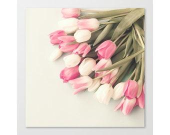 SALE Spring decor, tulip art, flower art, flower print, canvas art, flower photography, pink art, flower wall art, large art, large wall art