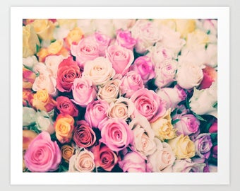 SALE, Paris photography, canvas art, Paris wall art, large art, Paris print, flower photography, Paris roses, Paris photo, flower print art