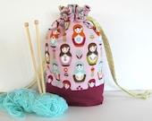 Drawstring knitting bag, Project bag, Knit Crochet Tote in Russian Dolls, Matryoshka Babushka Gift for Knitters
