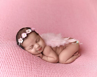 PINK NEWBORN Feather Wings, Newborn Wings with flower crown Headband, Pink Angel Wings, Newborn Photo Prop, Newborn baby wings, angel wings