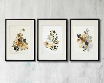 Set of 3 framed prints Plant art Contemporary art Dry flower decor Herbarium Pressed flower framed Floral print Dining room wall art framed
