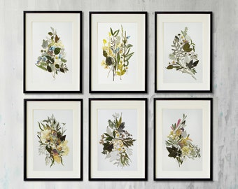 Set of 6  framed botanical prints Pressed flowers Contemporary art Dried flowers decor Picture art Pressed flower frame Herbarium artwork