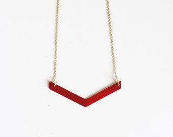 Red Chevron Necklace.              Reversible Minimal Geometric Necklace.     Minimal Modern Jewelry with a Charitable Donation