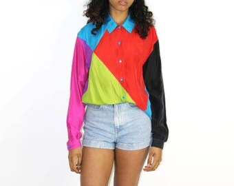 Color Blocked Top - Iconic 90s 1990s Print SILK BUTTON UP Tunic Colorful Rainbow Tunic Top Blouse Womens Hip Hop Old Skool Long Sleeve Med