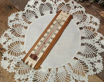 Antique Art Deco / Arts and Crafts / Chaney Tru-Temp Wall Thermometer / Made in U.S.A.
