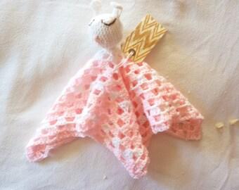 """My Bunny"""" hand crochet babies security blanket"""