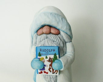 Wooden Santa Claus Figure Hand Carved Christmas Decoration