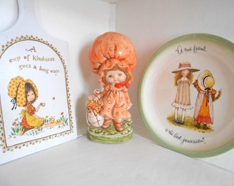 Holly Hobbie inspired hand painted statue, Holly Hobbie plate wall hanging 70s kitchen decor / Vignette / Collection / Unique
