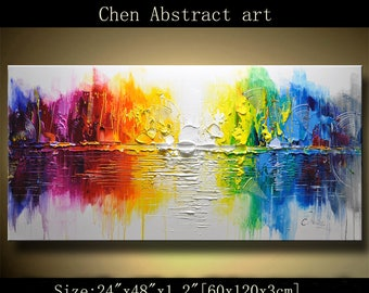 Abstract Wall Painting, expressionism Textured Painting,Impasto Landscape Painting  ,Palette Knife Painting on Canvas by Chen 0317
